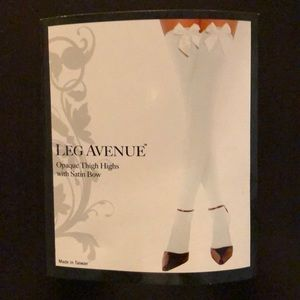 Leg Avenue Opaque White Thigh Highs with Satin Bow
